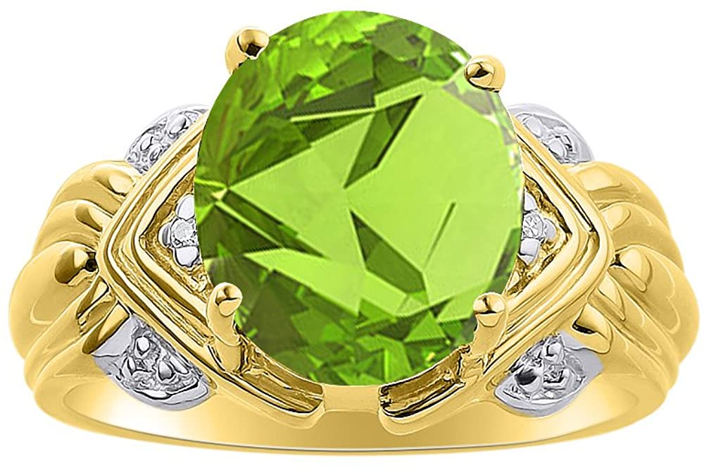 Diamond & Peridot Ring Set In 14K Yellow Gold - 12 X 10MM Color Stone Birthstone Ring