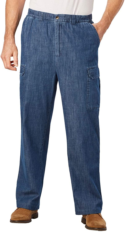 KingSize Mens Big & Tall Knockarounds Full-Elastic Waist Cargo Pants - Big - 4XL 38, Stonewash