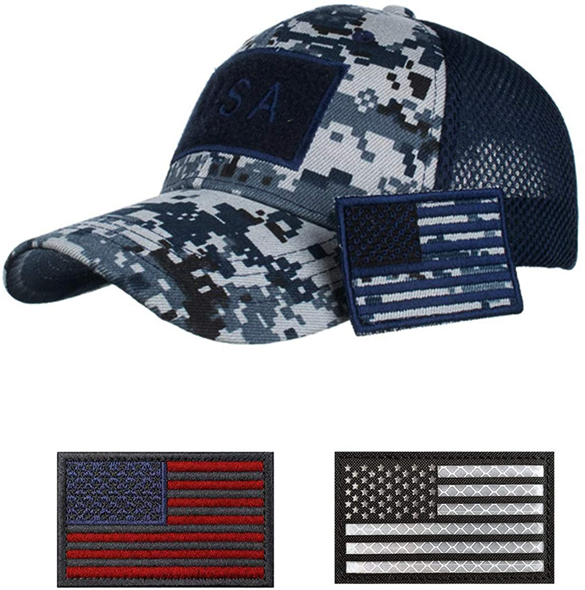 Uphily Tactical Hat with IR Reflective Military Patches, Adjustable Operator Cap, Tactical Mesh ACU Flag Army Hats for Men Work, Gym, Hiking Hunting and More