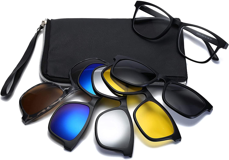 HIFOT Eyeglasses Frame with Magnetic Clip on Polarized Sunglasses, Plastic Frame for Women Men