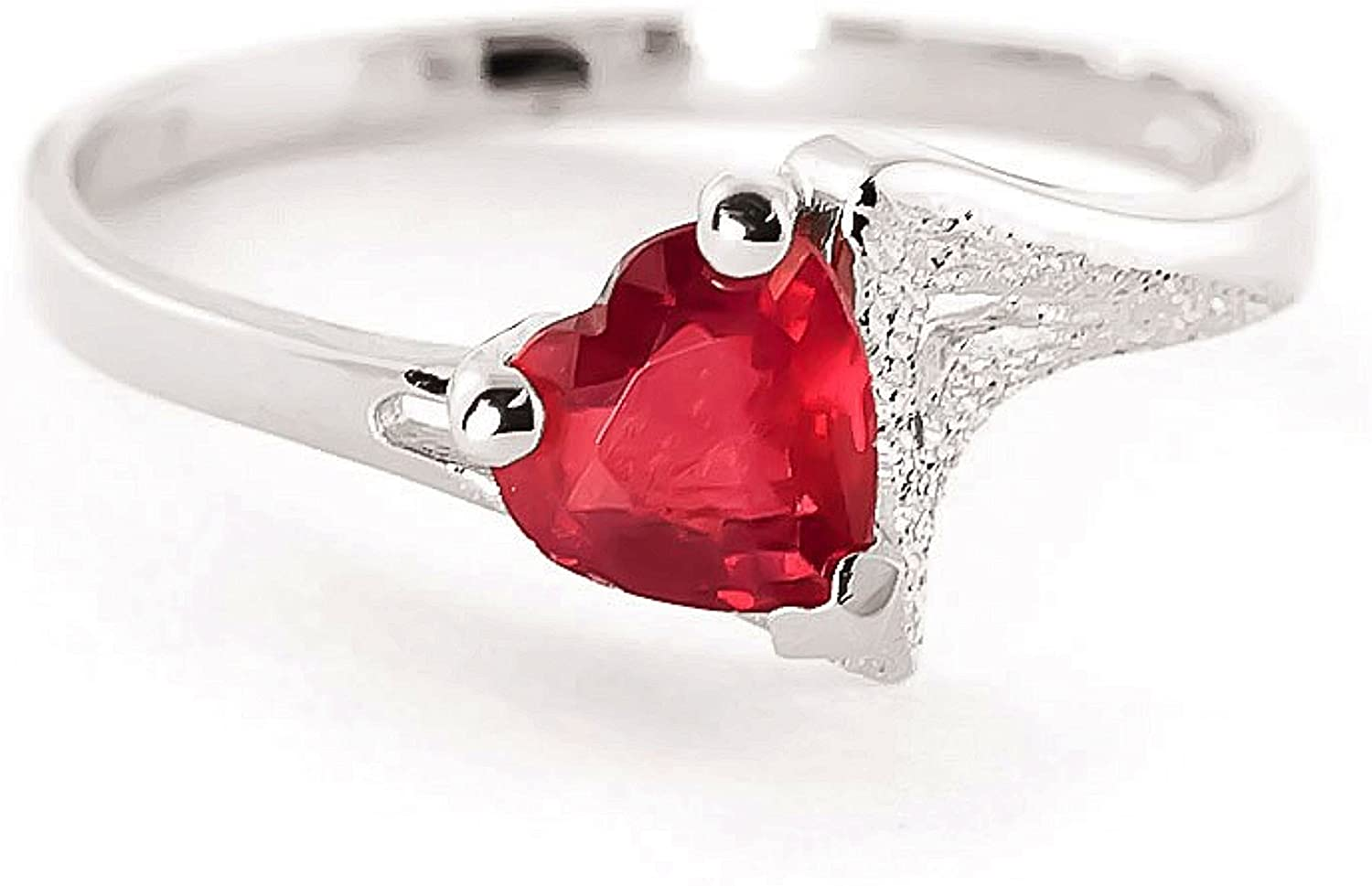 Galaxy Gold 1 ct 14k Solid White Gold Solitaire Heart-Shaped Ruby Ring - Size 7.5