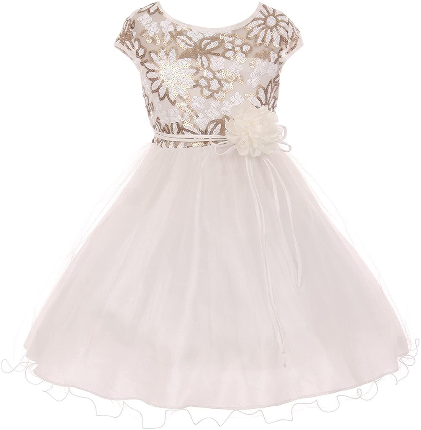 BluNight Elegant Cap Sleeve Sequin Pageant Easter Wedding Flower Girl Dress 4-14