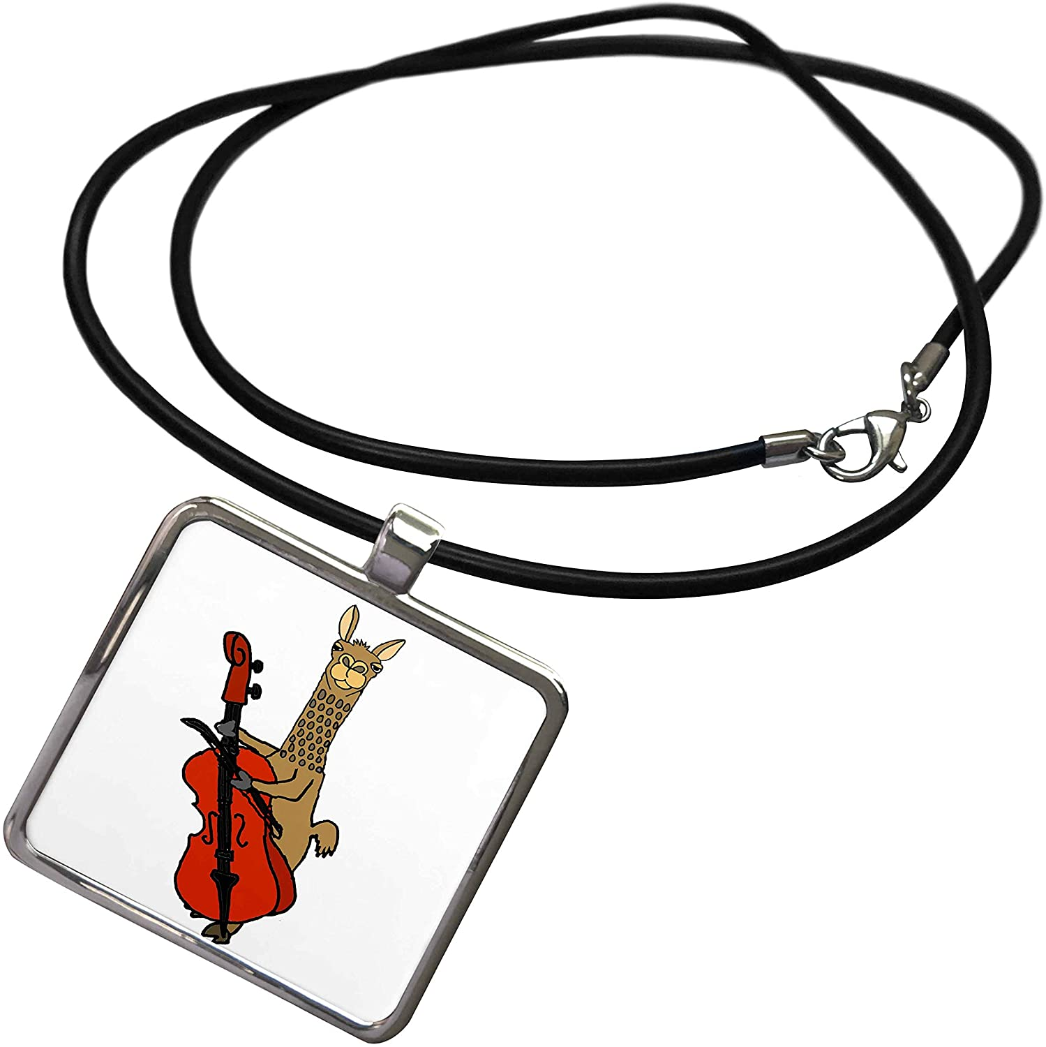 3dRose All Smiles Art - Animals - Cute Funny Unique Llama Playing Cello Cartoon - Necklace with Rectangle Pendant (ncl_293176)