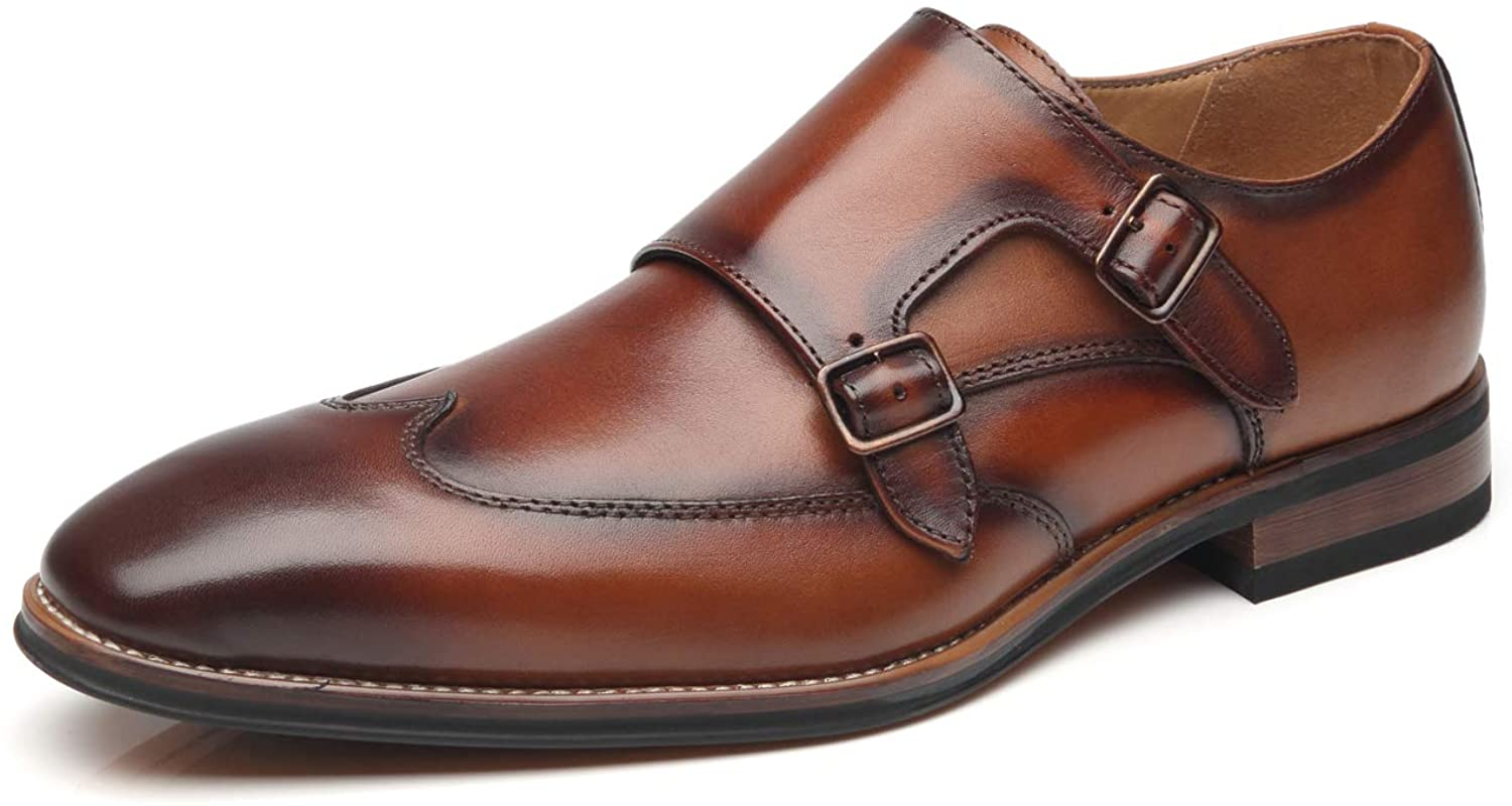La Milano Mens Double Monk Strap Slip on Loafer Leather Oxford Wingtip Formal Business Casual Comfortable Dress Shoes, Wing-1-cognac, 10.5