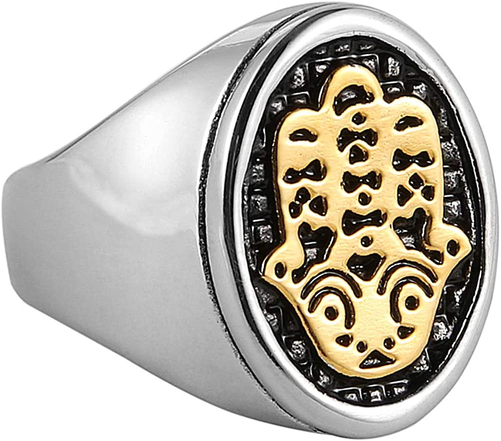 HZMAN Egyptian Eye Fatima Hamsa Hand Stainless Steel Ring Success and Protection Lucky Ring