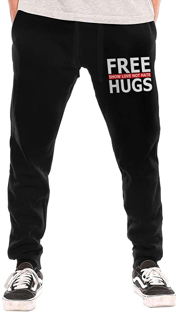 Free Hugs Show Love Not Hate Men's Casual Jogger Drawstring Waist Long Sweatpants with Pockets