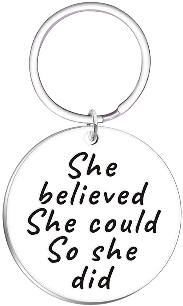 She Believed She Could so She Did Inspirational Keychain for Daughter Friends