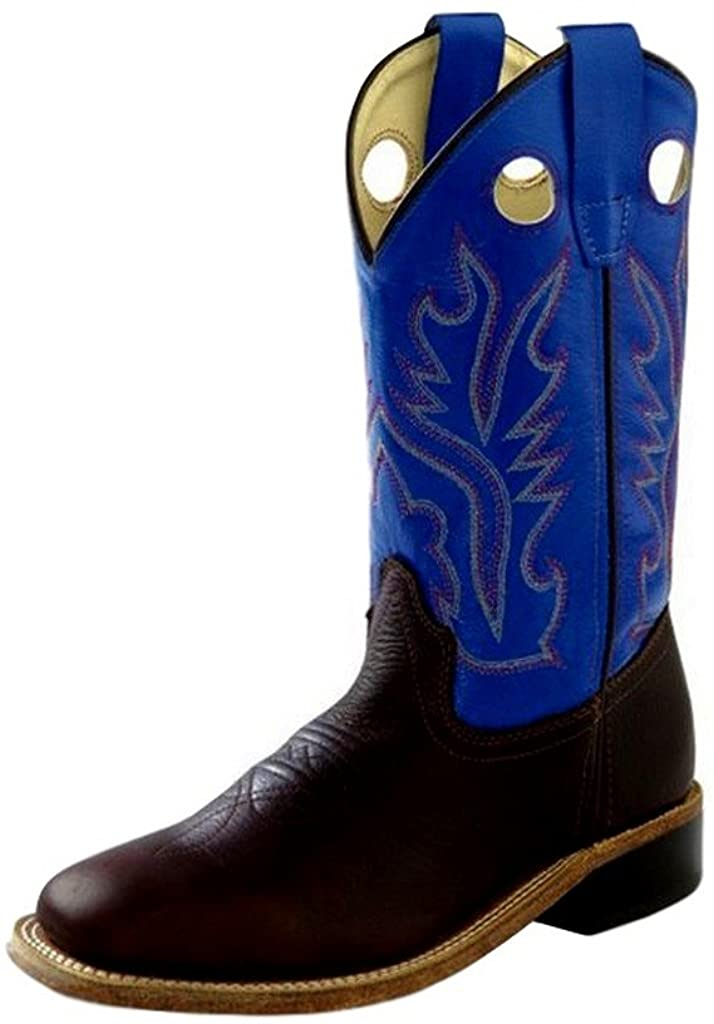 Old West Jama Corporation Boys Childrens Thunder Oiled Rust Blue Top Square Toe 12 Little Kid Thunder Oil Rust/Blue