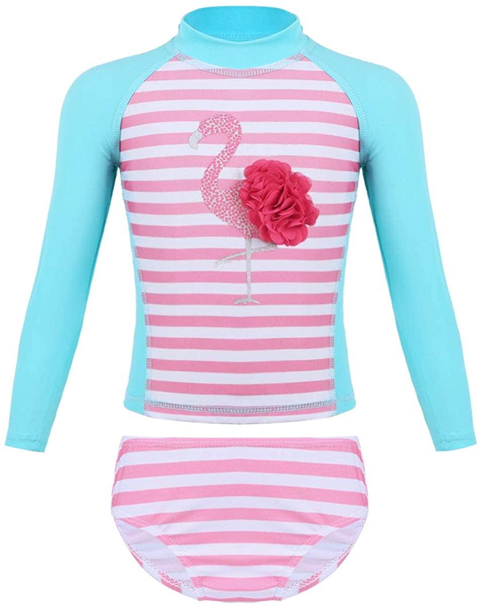 ACSUSS Baby Girls Long Sleeves Mock Neck Rushguard 2PCS Swimsuit Swimwear Flamingo Print Striped Bathing Suit