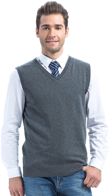 Choies Men's Dark Gray Sweater Vest Knit Acylic Winter V Neck Vest XL