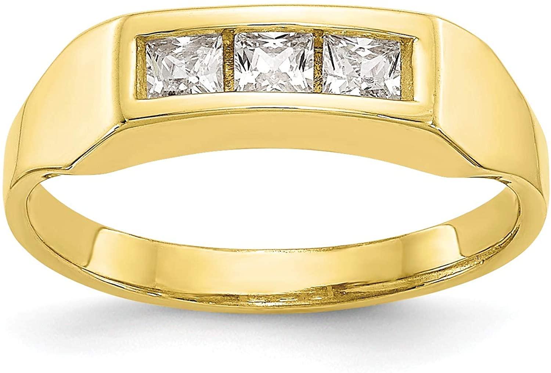 10k CZ Polished Child's Ring, Size: 3, 10k Yellow Gold