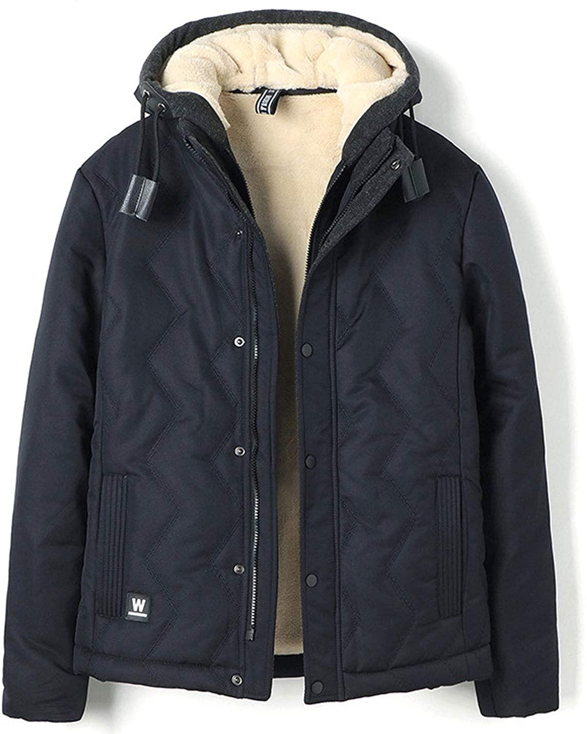 Flygo Men's Winter Remoevable Hooded Sherpa Faux Fur Lined Warm Jacket Outwear
