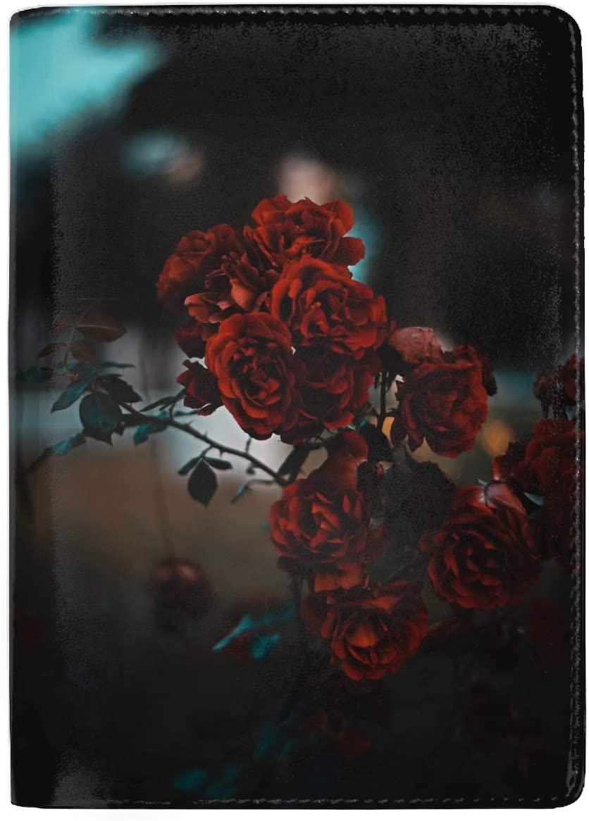 Leather Passport Holder Wallet Cover Case RFID Blocking Travel Wallet Roses Red Bush Blur Scarlet