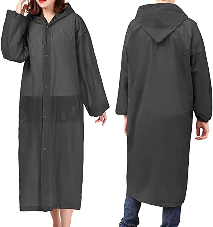 Rain Ponchos for Women Men Adults (2 Pack) Reusable Portable Rain Coat Jacket