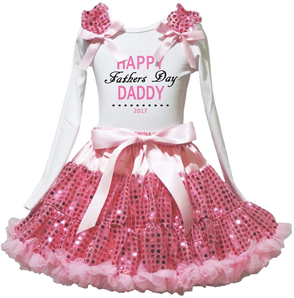 Petitebella Happy Father's Day 2017 L/s Shirt Pink Sequins Ribbon Skirt 1-8y