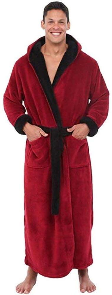 llwannr Bathrobe Robe Nightgown Sleep,Men's Winter Lengthened Plush Shawl Bathrobe Home Clothes Long Sleeve Robe Coat Bath Robe Peignoir Homme,red,4XL