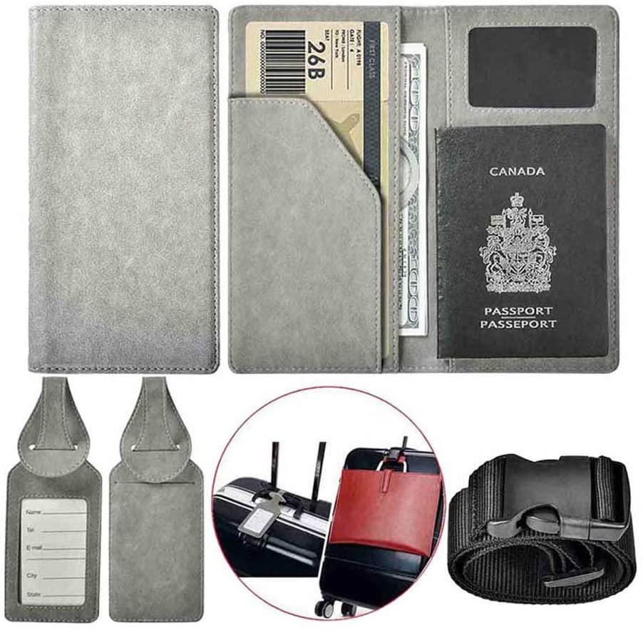 XeYOU Travel Wallet Vegan Leather Passport Holder Cover Case for Travel (Grey Passport Holder)