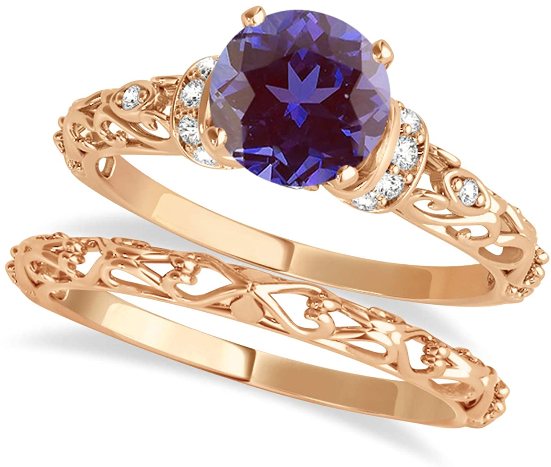(0.87ct) 14k Rose Gold Alexandrite and Diamond Antique-Style Bridal Set