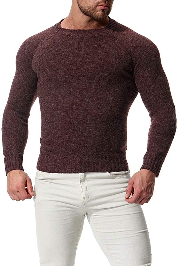 DressUMen Pullover Round Neck Knitting Raglan Sleeve Slim Fitted Casual Sweater