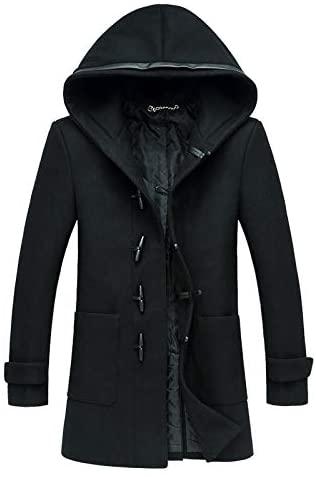 Nomber Men Woollen Trench Coat Jackets Hoodie Slim Fit Winter Fashion Black Warm Wool Overcoat Large Size M-XXXL