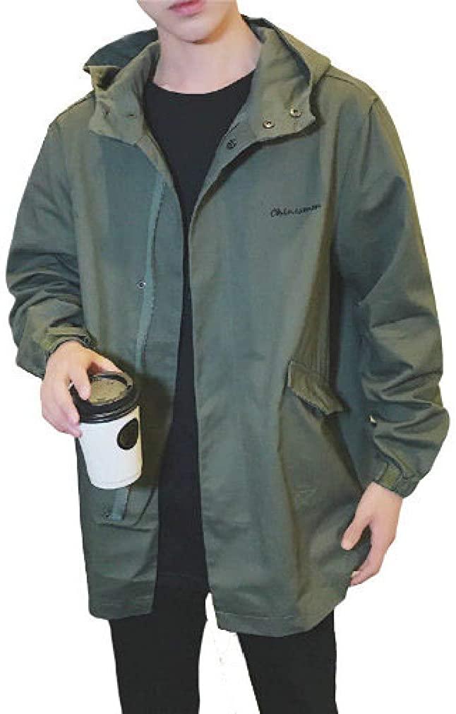 Men Classic Fit Letter Solid with Hood Plus Size Plus Cotton Jacket Coat
