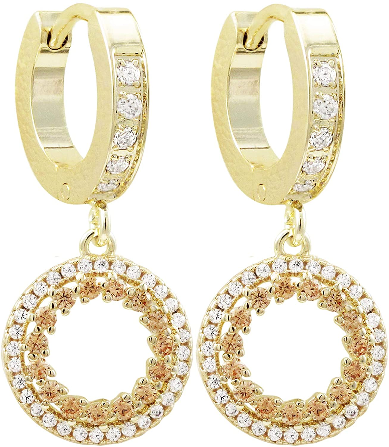 Ivy and Max Gold Finish Champagne Cubic Zirconia Dangling Open Circle Huggie Earrings