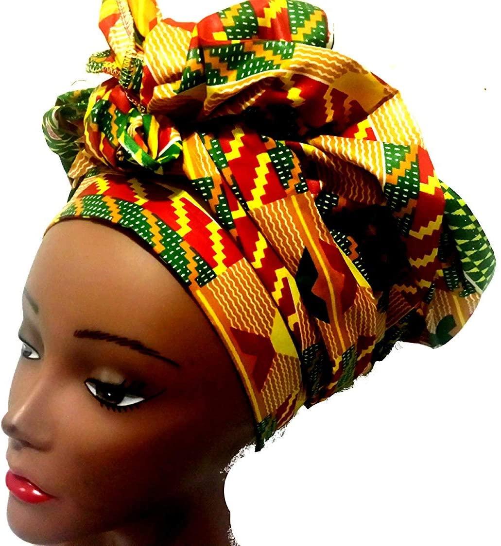 Green Peach African Fabric Ankara Kente Head Wrap- 20