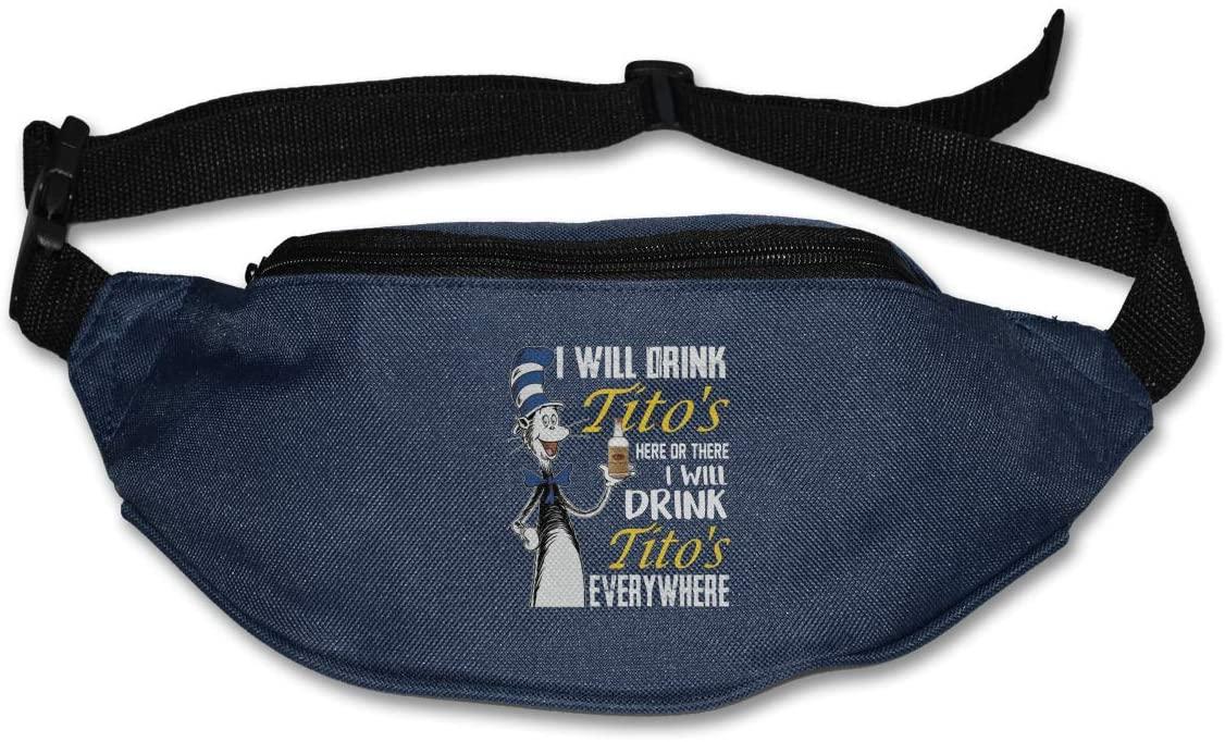 Hwxzviodfjg I Will Drink Tito'S Everyehere Dr Seuss Adjustable Running Belt Waist Pack Belt Fanny Pack Navy