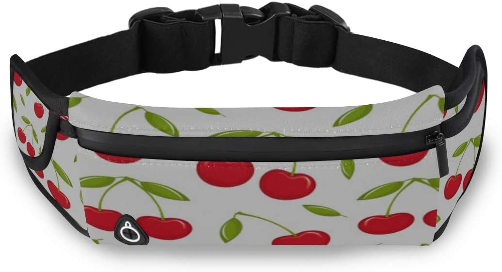 Cherry Small Cute Summer Friuts Mens Bag Fashion Mens Long Waist Pack Compact Fanny Pack With Adjustable Strap For Workout Traveling Running