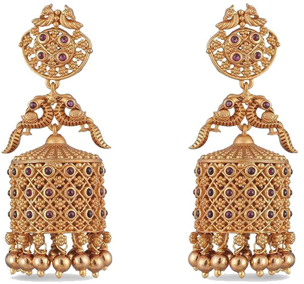 Tarinika Dhvani Gold-Plated Indian Cubic Zirconia Dangle Drop Earrings