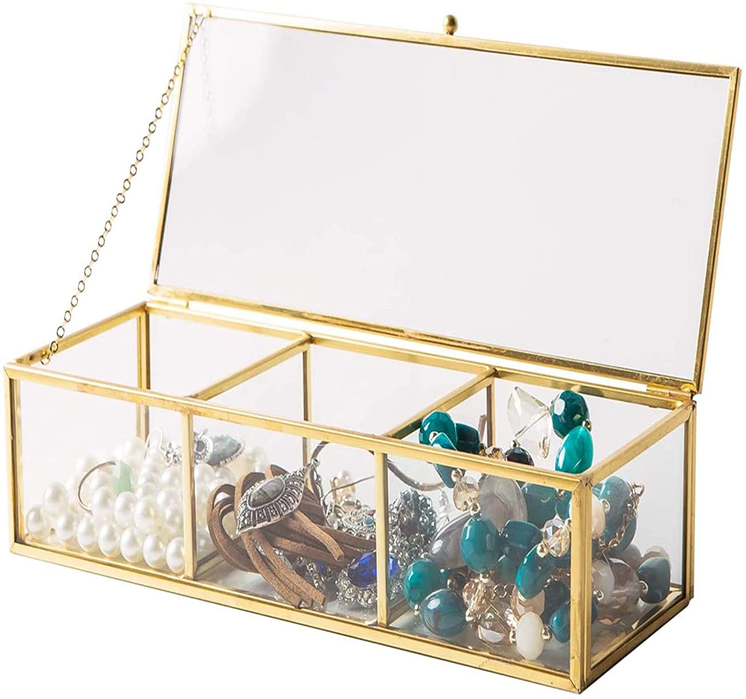 Vintage Golden Glass Lidded Box Clear Glass & Brass Metal Storage Jewelry and Cosmetic Makeup Organizer with Lid Beauty Display, Rectangle with 3 Compartment