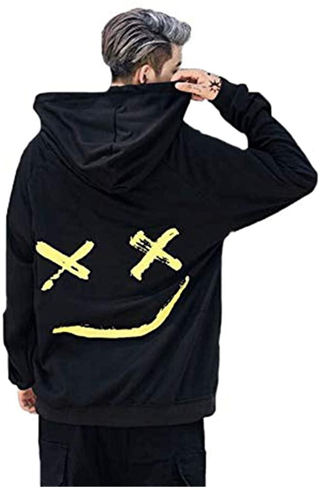 Abendedian Men's Casual Smile Face Colorblock Hoodies Print Long Sleeve Sweatshirt Fashion Hip-Hop Pullover Couple T-Shirt (Black, Medium)