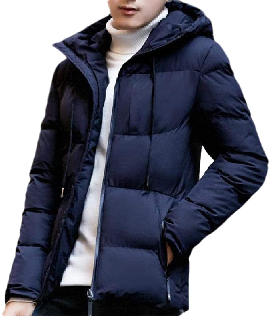 Abetteric Mens Zip-Up Thickened Hood Warm Relaxed Fit Winter Jacket