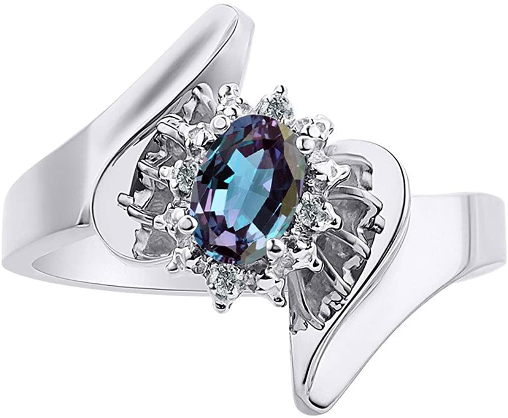 Diamond & Simulated Alexandrite Ring Set In 14K White Gold - Diamond Halo - Color Stone Birthstone Ring