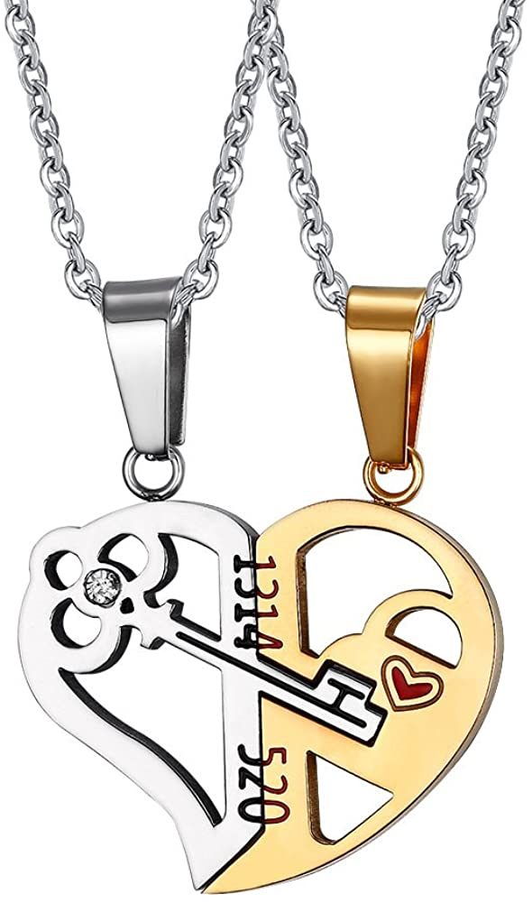 HUANIAN His&Hers Stainless Steel Key to Love Matching Half of Heart 520 Pendant Necklace for Couples