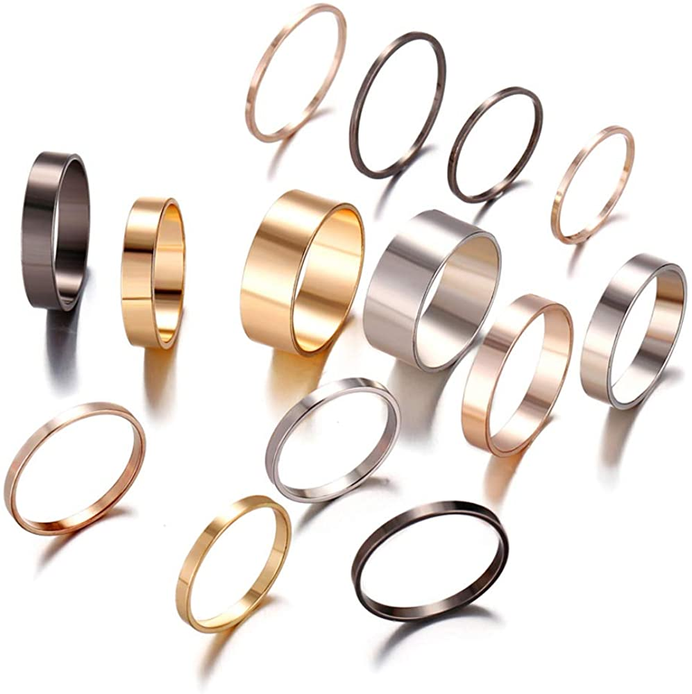Simple Gold Silver Rings for Women Dainty Stackable Midi Thin Rings for Women Girls 14 PCS