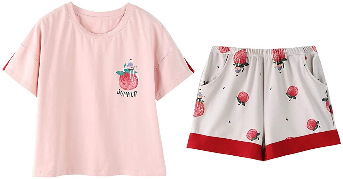 Girls Pajama Set Cute Cartoon Print Tee and Shorts Pjs 2-Piece Sleepwear Sleep Sets Nightwear for Teens