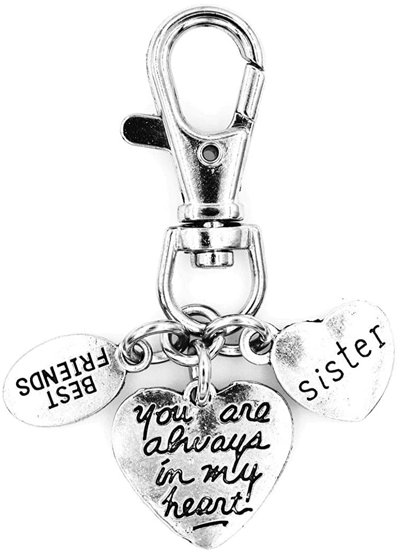 You are Always in My Heart Sister Best Friend Swivel Clasp Clip on Charm 15Q