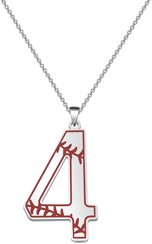 FAADBUK Baseball Initial Necklace Baseball Lucky Number Jewelry Baseball Jersey 0-9 Inspiration Pendant Necklace for Boy Men Girl Women