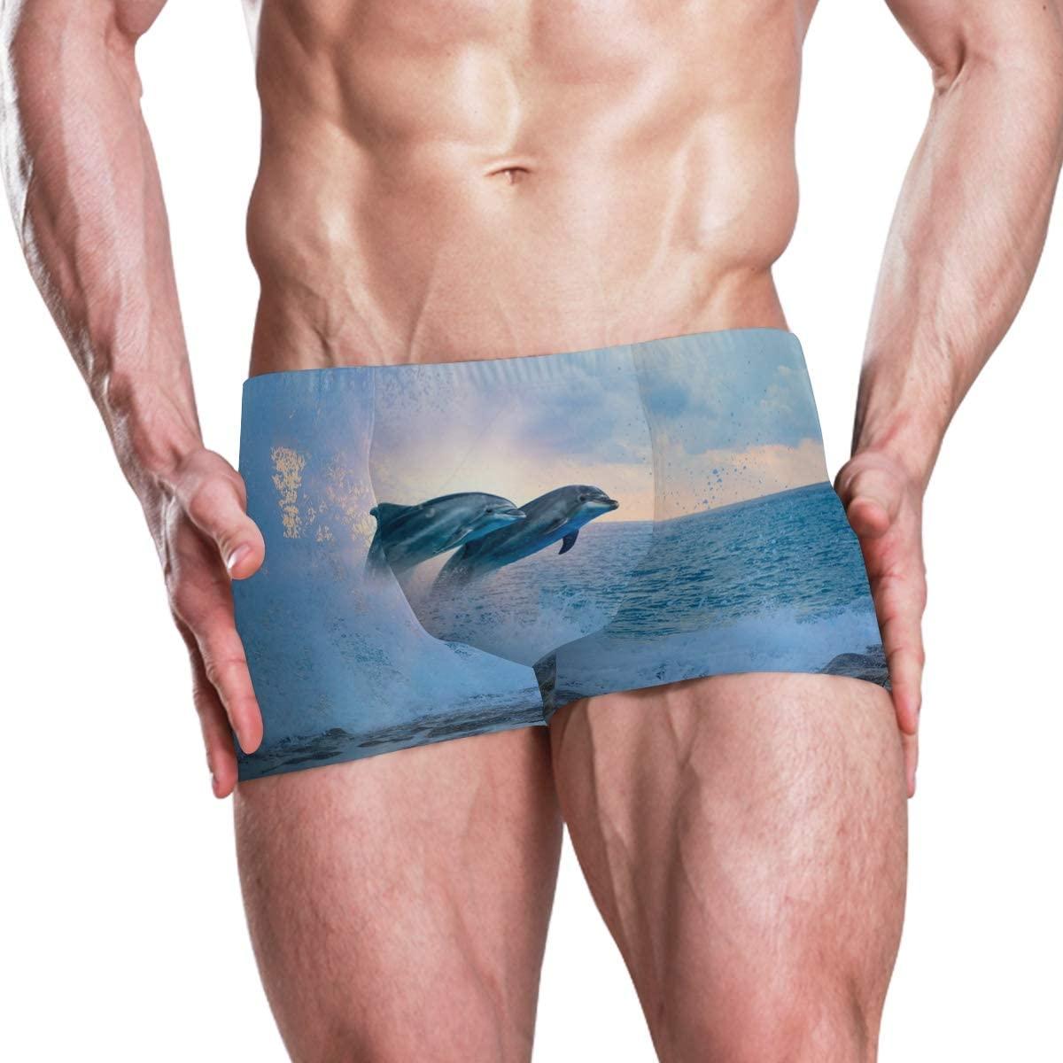 SLHFPX Ocean Wave Dolphin Men's Swimsuit Solid Square Leg Endurance Swim Trunks Swimwear