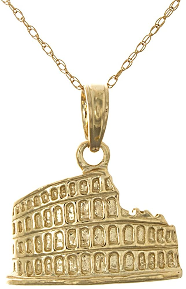 14k Yellow Gold Historic Monuments Necklace Charm Pendant with Chain, 2-D Coliseum, Rome Italy