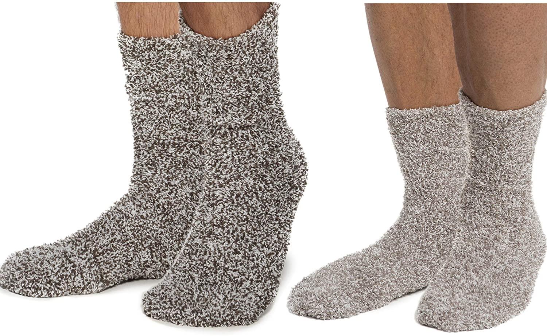 Barefoot Dreams CozyChic Men Heathered Socks, Crew Socks, Plush Socks, Loungewear, Warm Toes, Fuzzy Socks