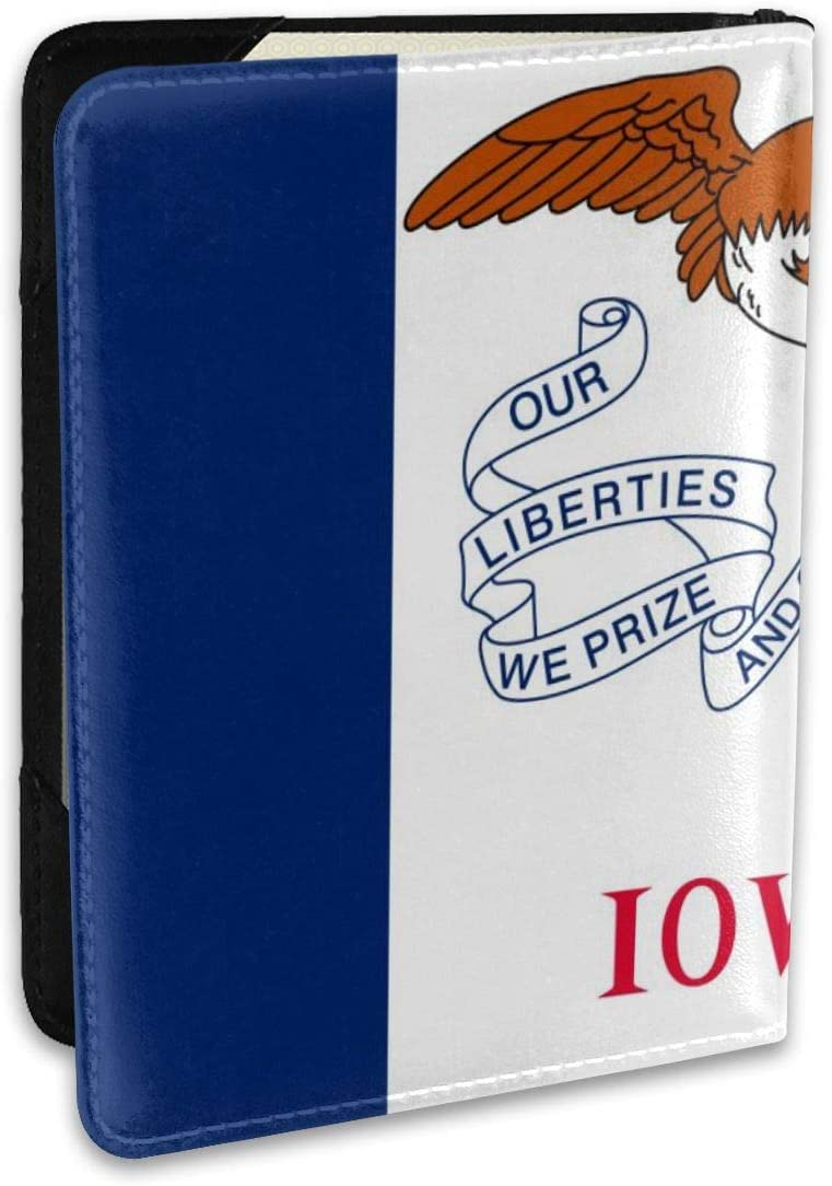Flag Of Iowa State Personalized Fashion Leather Passport Holder Covers Case Travel Wallet 6.5 In For Women Men