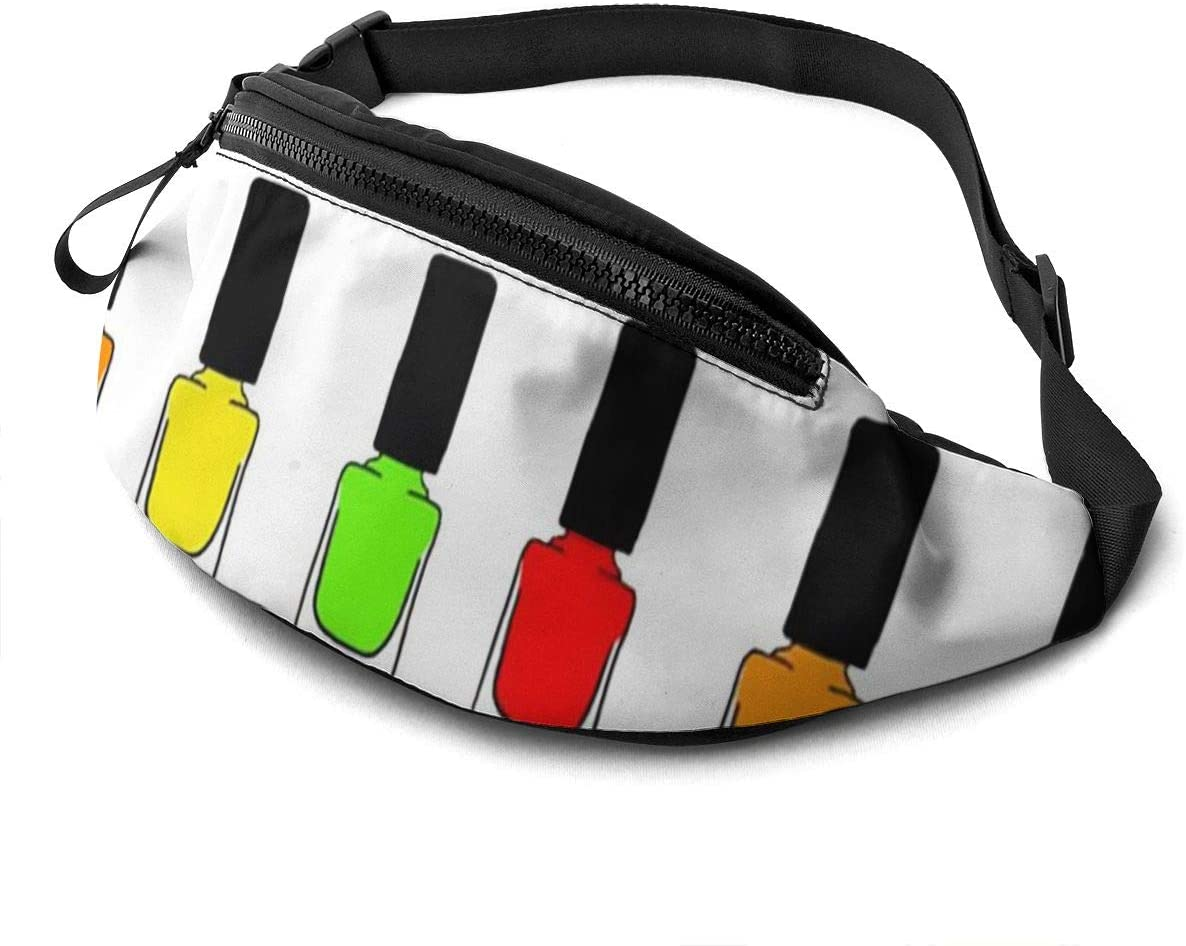 Rainbow Nail Polish Fanny Pack For Men Women Waist Pack Bag With Headphone Jack And Zipper Pockets Adjustable Straps