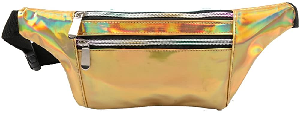 Mum's memory Holographic Fanny Pack for Women - Metallic Sport Waist Pack for Men for Running, Hiking, Traveling, Camping, Partying, Jogging