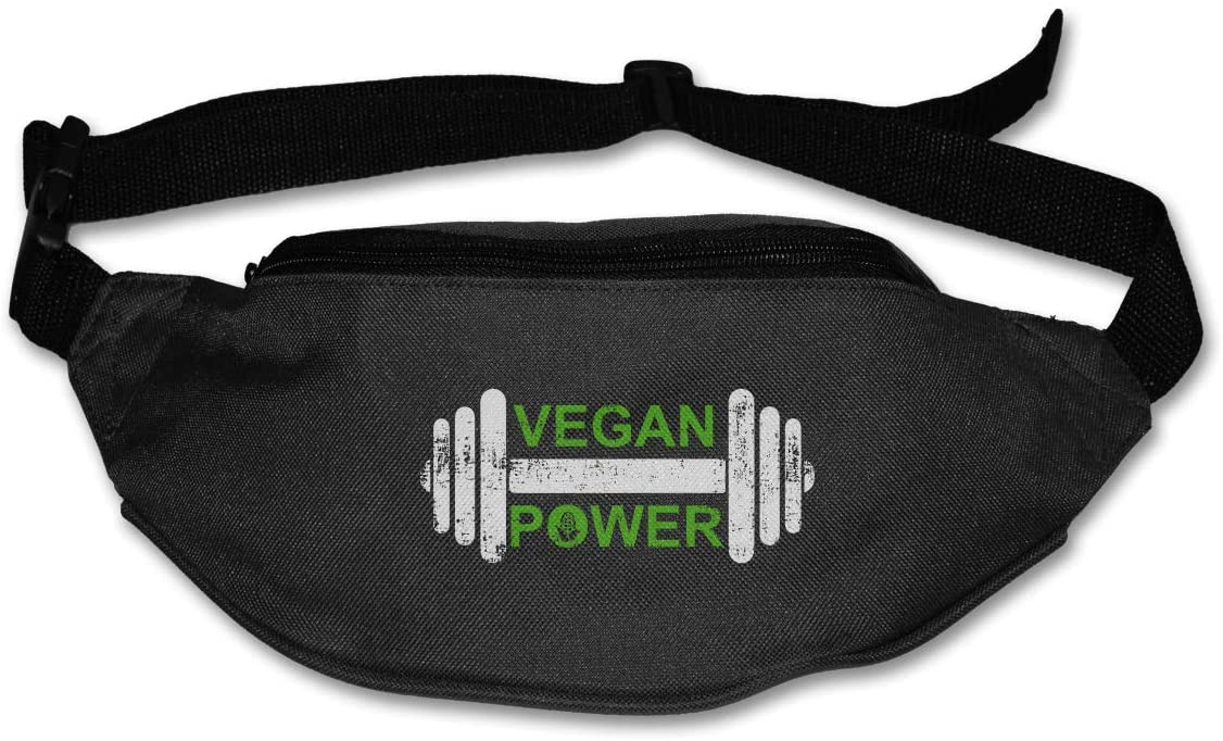 SWEET-YZ Unisex Waist Pack Vegan Power Flat Fanny Bag Pack for Sport Running