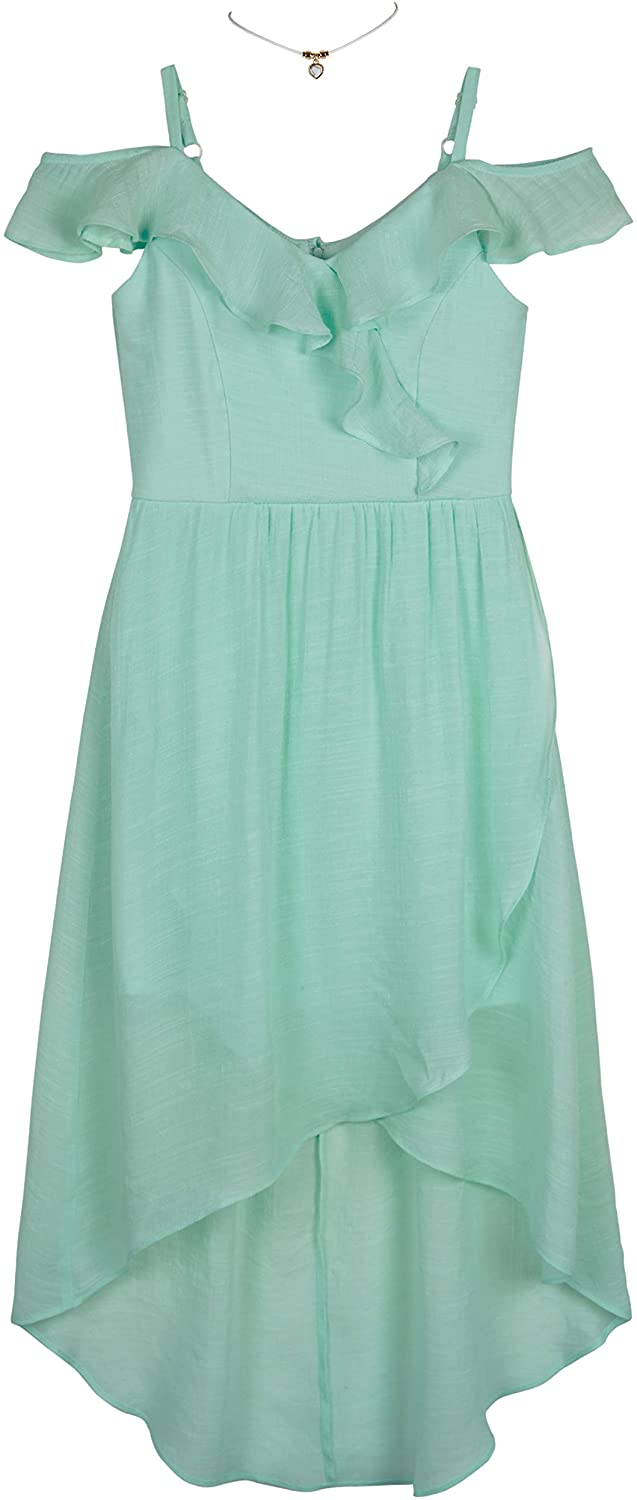 Amy Byer Girls' Off The Shoulder Dress with High Low Wrap Skirt