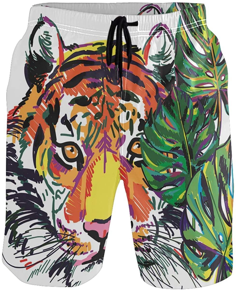Men's Swim Trunks - Tiger in The Jungle Tropical Beach Short Men Quick Dry Bathing Suit Shorts