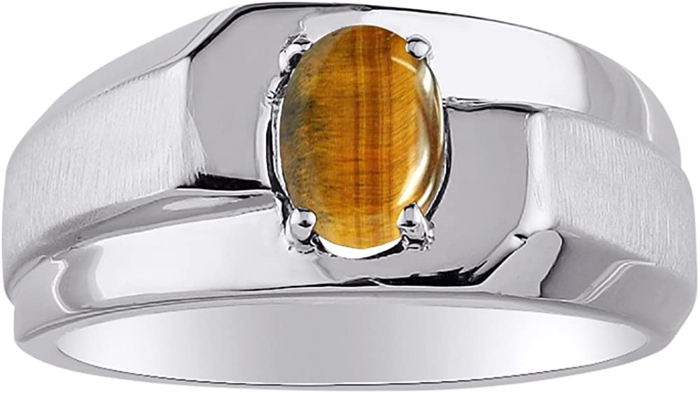 Birthstone Ring Sterling Silver or Yellow Gold Plated Silver Tiger Eye
