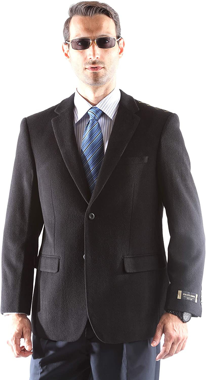 Prontomoda Men's 2 Button Luxury Wool Cashmere Winter Sport Coat
